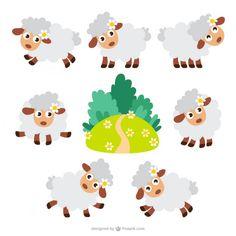 Desenhos animados dos carneiros embalar Vetor grátis