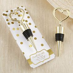 Gold heart shaped wine bottle stoppers with adorable polka dot foil packaging