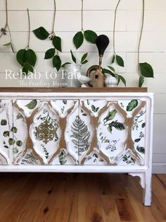 Fern Woods Transfer-redesign with Prima (Total size Order, shipping ETA Decoupage Furniture, Painted Furniture, 5 Drawer Dressing Table, Old End Tables, Showroom, Dixie Belle Paint, Wood Detail, Furniture Makeover, Furniture Ideas