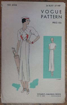Vintage 1930s Dress Vogue Pattern 6334 Bust 34 by strangenotions