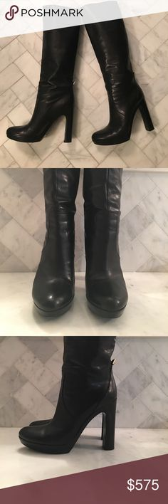 Gucci boots Gucci platform to the knee boots. All black leather with silver logo. Only wear is on the soles! Excellent condition! Size 10 Gucci Shoes Over the Knee Boots