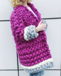 Super chunky knitted cardigan of Merino wool by YourYarnUa on Etsy