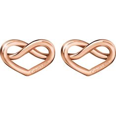 CALVIN KLEIN Charming rose-gold tone knotted heart earrings ($71) ❤ liked on Polyvore featuring jewelry, earrings, heart shaped jewelry, knot charm, heart charm, calvin klein jewelry and charm earrings