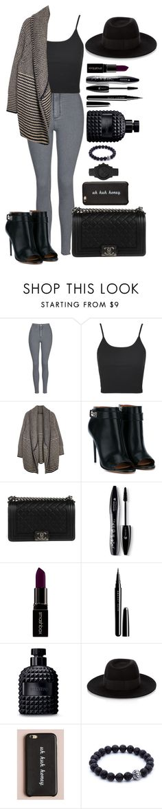 """""""Untitled #1448"""" by fabianarveloc on Polyvore featuring Topshop, Givenchy, Chanel, Lancôme, Smashbox, Marc Jacobs, Valentino, Maison Michel and Michael Kors"""