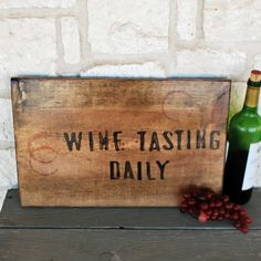 Sign Wine Tasting Daily Rustic sign by SummerRoad on Etsy, $28.00