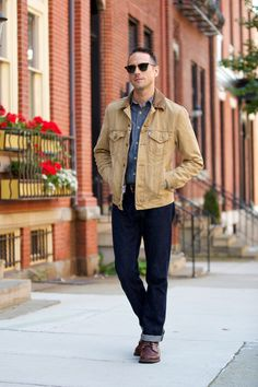 A fall weekend casual look featuring two fall menswear essentials--a chambray shirt and a pair of boots.