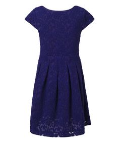 Look at this Richie House Blue Floral Lace Cap-Sleeve Dress - Toddler & Girls on #zulily today!