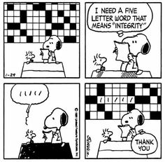 Snoopy & Woodstock completing a crossword puzzle.