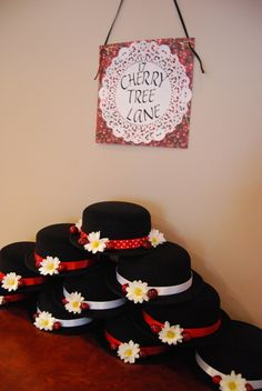Cherry Tree Lane- A Mary Poppins Party. Great idea for party hats  the sign is a must-have.