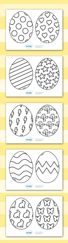 Twinkl Resources >> Easter Egg Templates >> Printable resources for Primary, EYFS, KS1 and SEN.  Thousands of classroom displays and teaching aids! Topics, Easter, Colouring, Easter Eggs: