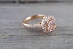 6.5mm Morganite 18k Rose Gold Pave Halo Cushion Diamond Engagement Ring Vintage