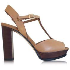 See by Chloe Designer Shoes Cognac Alex Platform Sandal ($415) ❤ liked on Polyvore featuring shoes, sandals, cognac, retro shoes, leather sole shoes, open toe sandals, chunky-heel sandals и cognac sandals