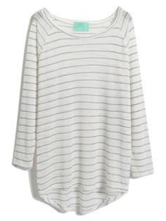 Shop White Semi-sheer Striped High-low Knitted T-shirt from choies.com .Free shipping Worldwide.$13.9