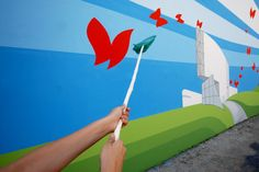 """Murata realizzata a Napoli dall'Associazione Arteteca dedicata al capitolo del Bilancio di Sostenibilità di Vodafone Italia """"Planet"""" http://voda.it/XNmaXx"""