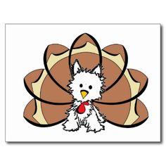 Westie Thankgiving Turkey Post Card