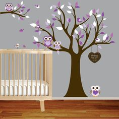 Owl Themed Nursery | Vinyl Wall Decal Stickers Owl Tree Set Nursery Girls Baby Custom ...