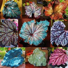 Handmade leaves with real ones