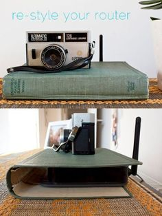 Clever DIY Projects to Hide Household Eyesores Cover up tv/wireless box with the shell of a book! 10 Clever DIY Projects to Hide Household EyesoresCover up tv/wireless box with the shell of a book! 10 Clever DIY Projects to Hide Household Eyesores Home Decor Hacks, Diy Home Decor, Decor Ideas, Diy Ideas, Craft Ideas, Decoracion Low Cost, Diy Hacks, Creation Deco, Diy Décoration
