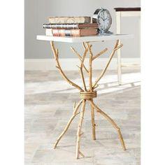 Alexa White and Gold End Table, White/Gold Legs