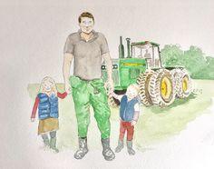 Father's Day unique watercolour illustration  Dad, daughter, son, tractor, farmer, family