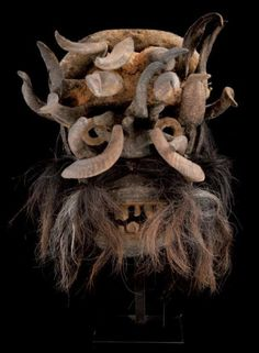 Africa | War/Power mask from the We Guéré people of the Ivory Coast | Wood, horns and other natural fibers