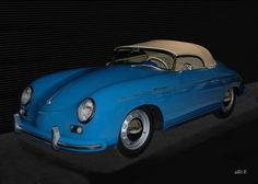 'Porsche 356 A Speedster in black & blue (Originalfarbe)' created by www.Oldtimerphotography.de