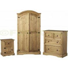 £274.99 - Seconique Corona Pine Trio Bedroom Set