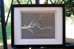 "Wedding Gift Personalized Custom Wedding Love Birds Family Tree Branch - Anniversary Gift - Wedding Gift Art Poster Print - 8""x10"" (yellow/gray), $18.00"