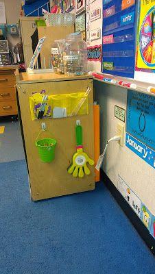 Hang Calendar Materials on side of a shelf with Command(TM) Hooks Classroom Layout, Classroom Organization, Classroom Management, Classroom Decor, Organization Ideas, Organizing, Beginning Of School, Back To School, Command Hooks