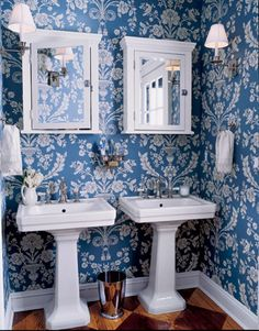 Bright Blue + Flowers is so cute!! 30 Bathroom Wallpaper Ideas | Shelterness