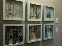 jewelry, organized & visible- they sell these at michaels' crafts