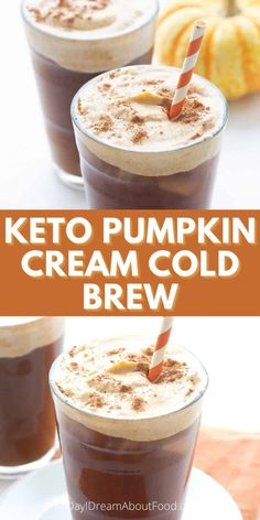 This keto Starbucks copycat recipes features delicious sugar free pumpkin spice cold foam poured over delicious cold brew coffee. It's the perfect fall refreshment! Low Carb Drinks, Low Carb Desserts, Low Carb Recipes, Coffee Recipes, Pumpkin Recipes, Low Carb Starbucks, Keto Dessert Easy, Keto Drink, Sugar Free Recipes
