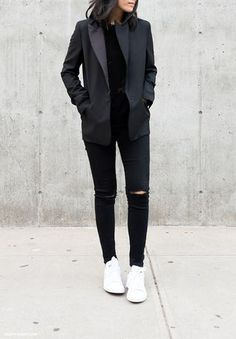 All BLACK with a pop of white and red lips