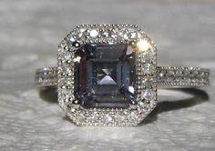 Light Violet Gray Ceylon Asscher Spinel in White Gold Milgrain Diamond Halo Engagement Ring, Gray Spinel Engagement Ring, by JuliaBJewelry