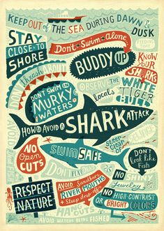 How to Avoid a Shark Attack by Linzie Hunter, via Behance