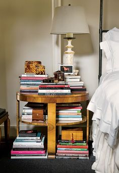 this is what my nightstand looks like, only the books on my nightstand are probably not nearly as interesting as these!
