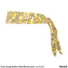 Cute orange yellow white flowers patterns tie headband Train Like A Beast, Sweat Out, Tie Headband, Orange Yellow, All Print, Party Hats, White Flowers, Art Pieces, Patterns