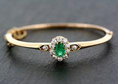Antique Emerald Bangle - 19th Century Austro-Hungarian Victorian Emerald & Diamond Bangle 14ct Gold