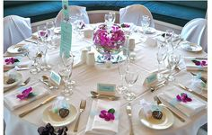 Picture of wedding table decor ideas with pink orchid flower.PNG - love the bubble bowl centerpiece - low centerpiece