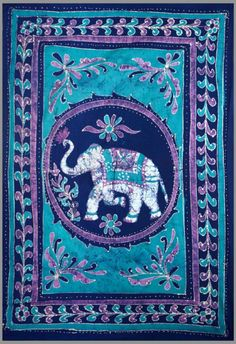 "Good Luck White Elephant Batik Tapestry ~ Twin & Full Sizes Available ~ 100% Cotton (Blue/Purple, 72"" X 108"") -"