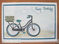 Stampin' Up!, ingridcardsandmore, 2017 Catalog, Bike Ride, Birthday, Island Indigo, Fiets, Watercolor