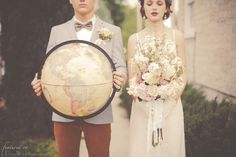 """http://www.decoweddings.com/3566/vintage-travel/ This """"traveler"""" theme is gorgeous. I love the soft colors and nostalgia. It fits with our theme in that it has a hint of """"traveling circus gypsies""""."""