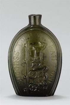 """OLIVE-GREEN GLASS FLASK ,"""" Success to the Railroad """" 19th century"""