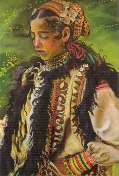 File:Kazimierz Sichulski - A Hutsul Bridesmaid. Rose Quartz Steven, 60s Art, Exotic Art, Ukrainian Art, Christmas Paintings, Naive Art, Aboriginal Art, Illustrations And Posters, Whimsical Art