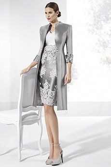 Sheath/Column V-neck Knee-length Taffeta Evening Dress