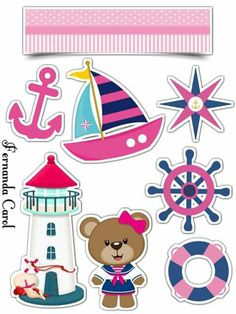 Disney Cake Toppers, Cake Templates, Diy And Crafts, Paper Crafts, Bear Girl, Baby Clip Art, School Decorations, Nautical Theme, Anime Art Girl