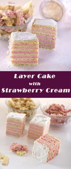 Eastern European Layer Cake with Strawberry Cream Filling. Something Sweet… Strawberry Cakes, Strawberry Recipes, Baking Recipes, Cake Recipes, Dessert Recipes, Cupcakes, Cupcake Cakes, Fun Desserts, Delicious Desserts