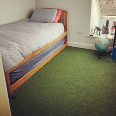 Bring the pitch to your bedroom! Create a FUN floor for your kids bedroom or playroom with our premium artificial grass. This fantastic pic was sent in to us this morning - we love it! Room Design Bedroom, Kids Bedroom, Fake Grass Carpet, Bedroom Flooring, Bedroom Carpet, Pitch, Playroom, Road Trip, House Ideas