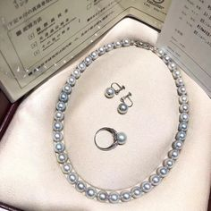 """Annycase 在 Instagram 上发布:""""9-9.5MM Natural Silver Grey Japanese Akoya Pearl Strand、Earrings and Ring Set with Official Certification 14K White Gold #anniversarygift…"""""""