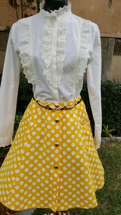 Vintage Italian Yellow and White Spot Skirt Size S/M by PippiLime on Etsy